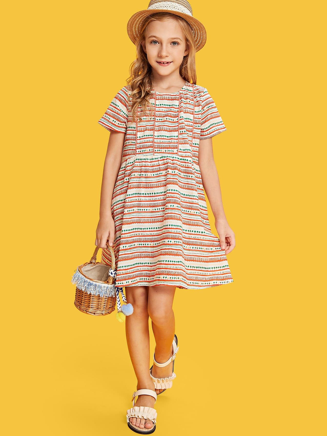 364f0c5332d Girls Mixed Print Smock Dress EmmaCloth-Women Fast Fashion Online