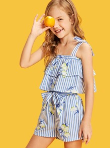 Girls Self Tie Layered Ruffle Top & Belted Shorts Set