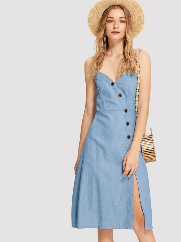 4d91d83d0a Shoptagr | Button Up Sweetheart Cami Dress by Shein