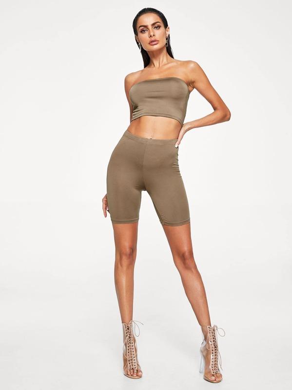 Pantalones sólido de color legging cortos ZukXPi