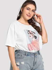 Plus Mesh Applique Figure Tee