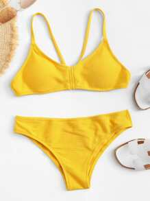 Strappy Top With Low Rise Bikini Set