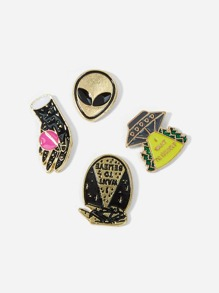 Alien Detail Brooch Set 4pcs