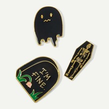 Skeleton Detail Brooch Set 3pcs