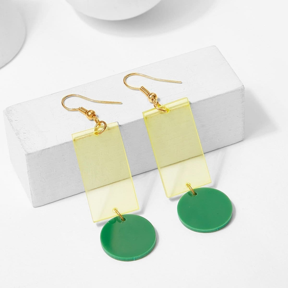 - Translucent Rectangle Drop Earrings