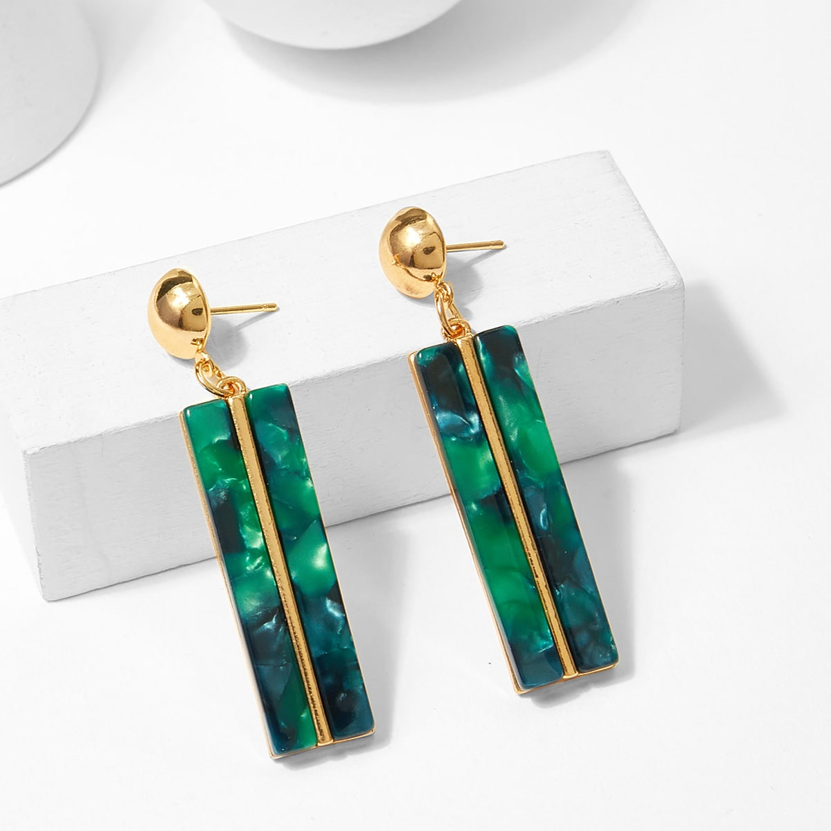 - Bar & Ball Design Drop Earrings