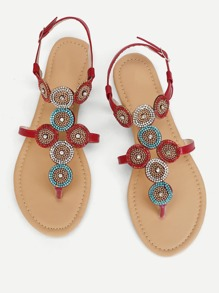 Rhinestone Detail Toe Post Sandals