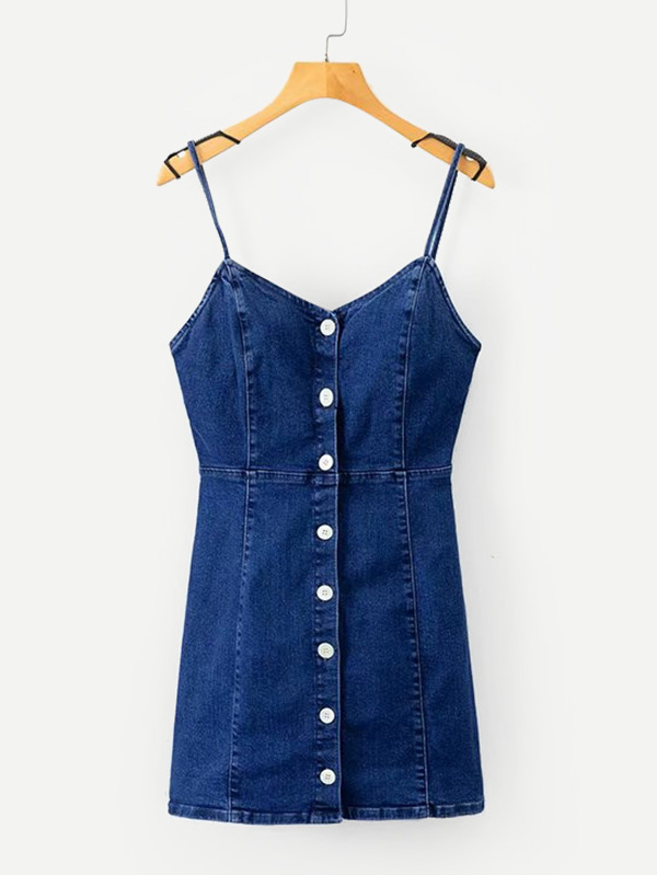 fd2f48f2939 Button Front Cami Denim Dress