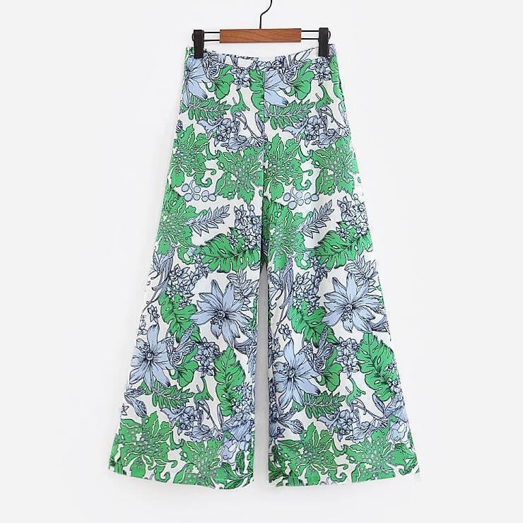 - Foliage Print Culotte Pants