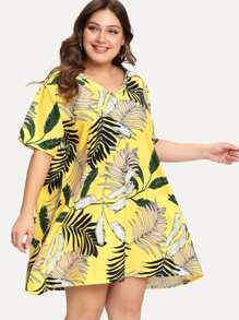 Plus V Neck Palm Print Dress