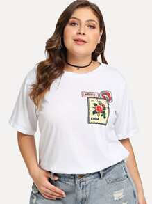 Plus Mixed Print Patched Tee