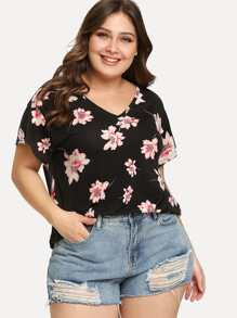 Plus V-Neck Floral T-shirt
