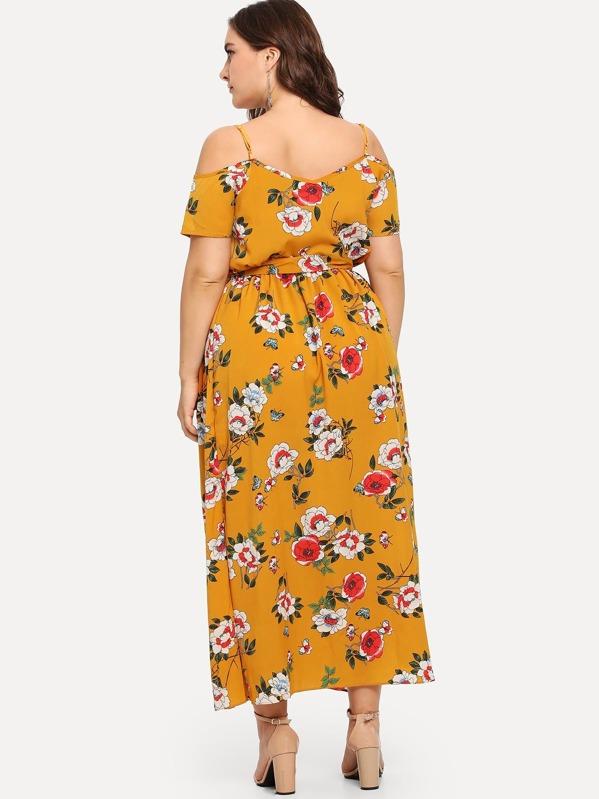 3c4cedcdf1 Plus Open Shoulder Floral Print Split Dress | SHEIN IN