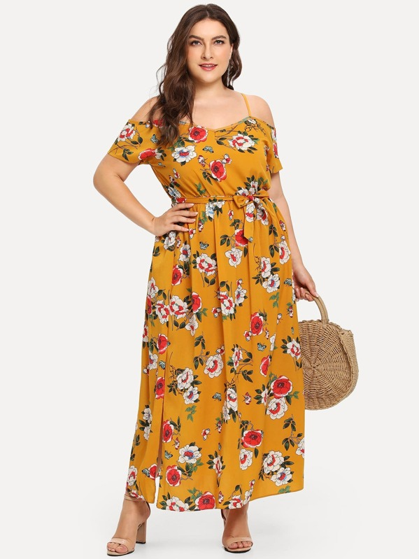 44d19f9d33 Plus Open Shoulder Floral Print Split Dress | SHEIN UK