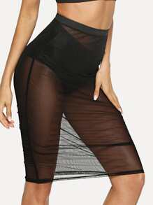 Elastic Waist Sheer Mesh Skirt