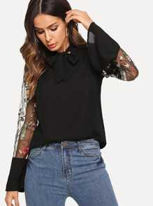 Embroidered Mesh Flounce Sleeve Tie Neck Blouse