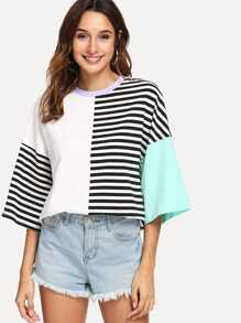 Flounce Sleeve Striped Print Top
