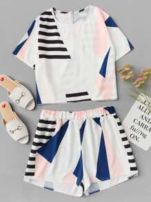 Plus Graphic Print Zip Back Two-piece Outfit