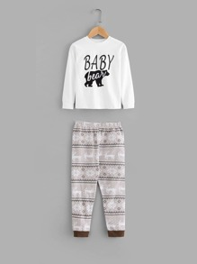 Toddler Boys Letter Print Blouse With Deer Print Pants