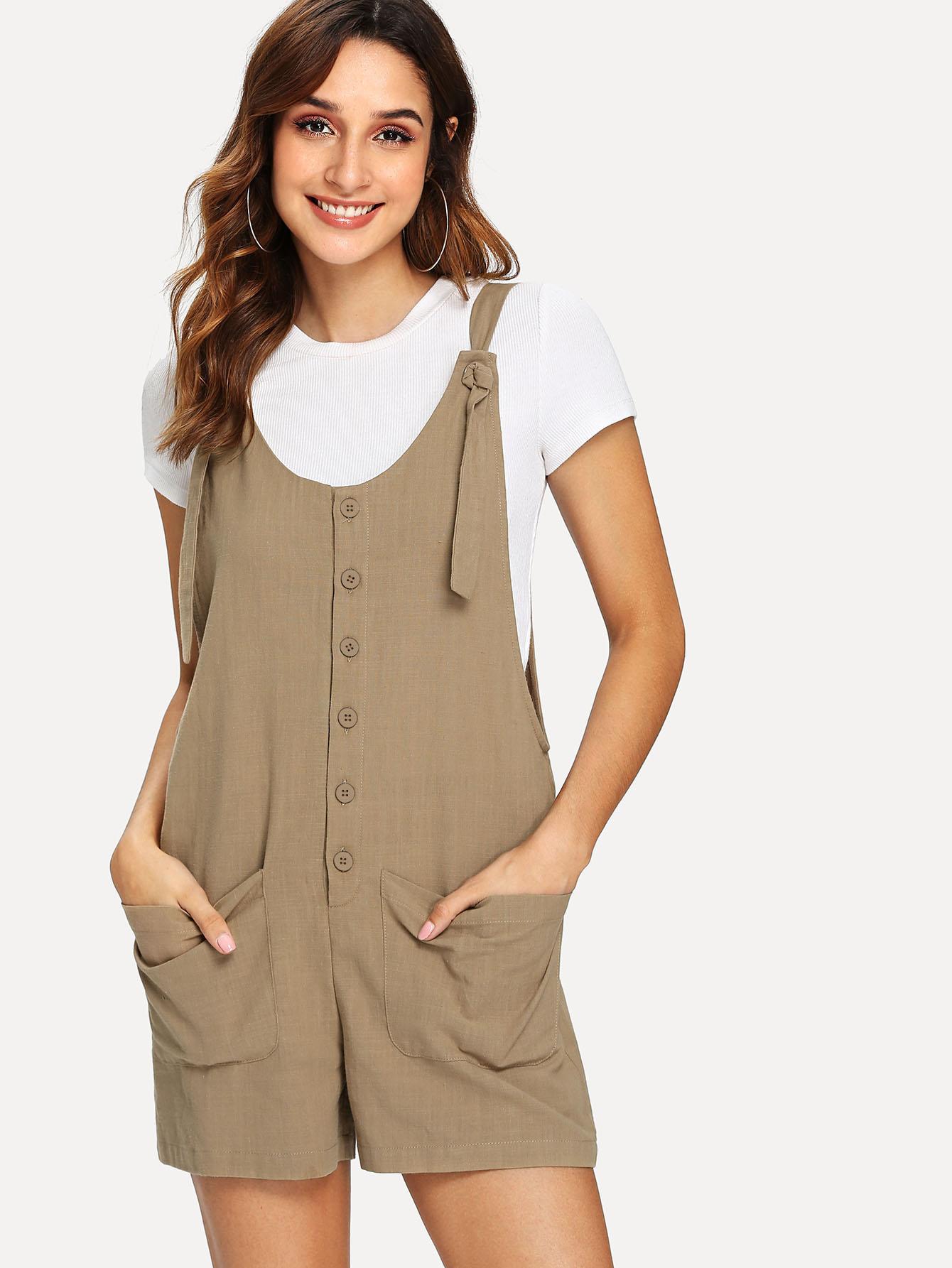 SHEINKnot Shoulder Button & Pocket Up Jumpsuit