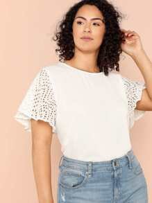 embroidered cut out sleeve top