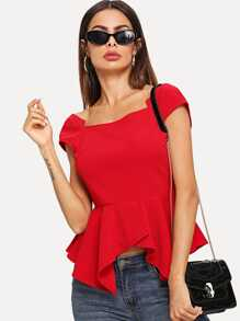 Flare Square Neck Solid Top