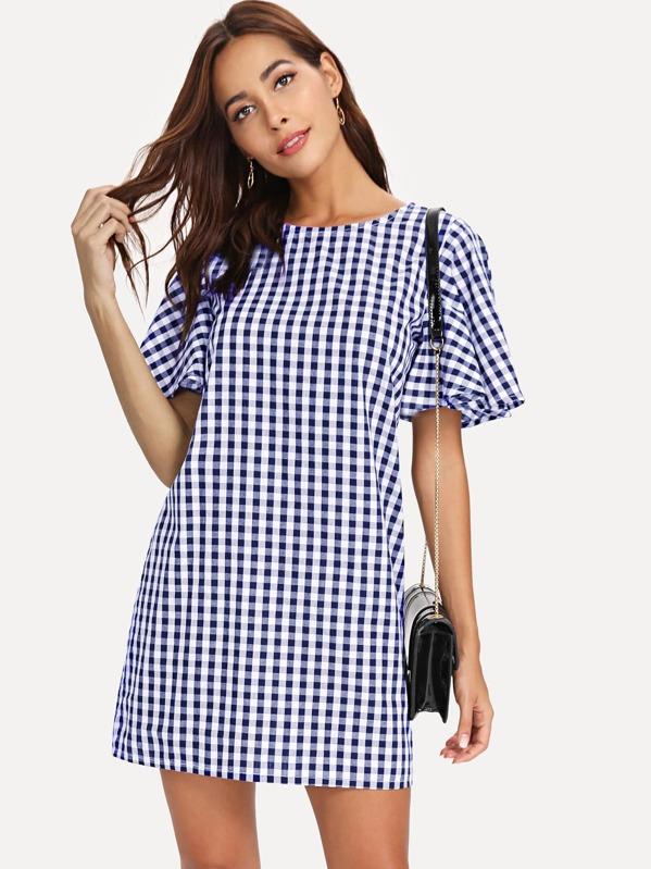 d428dd29cc0d Flutter Sleeve Gingham Print Dress