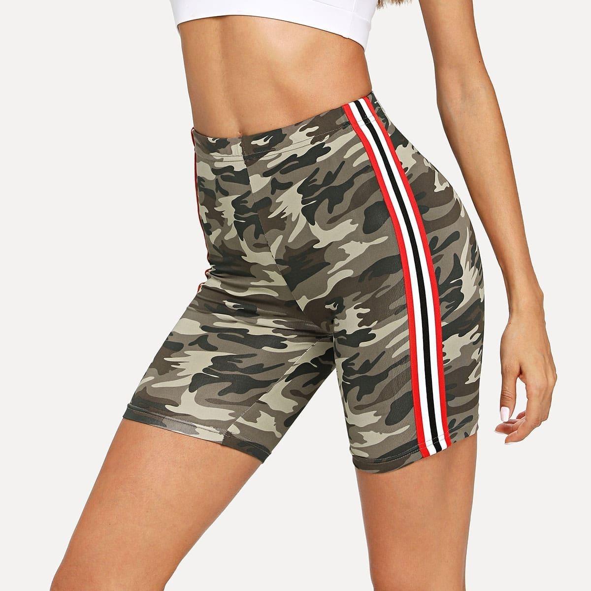 - Side Striped Leopard Print Leggings Shorts