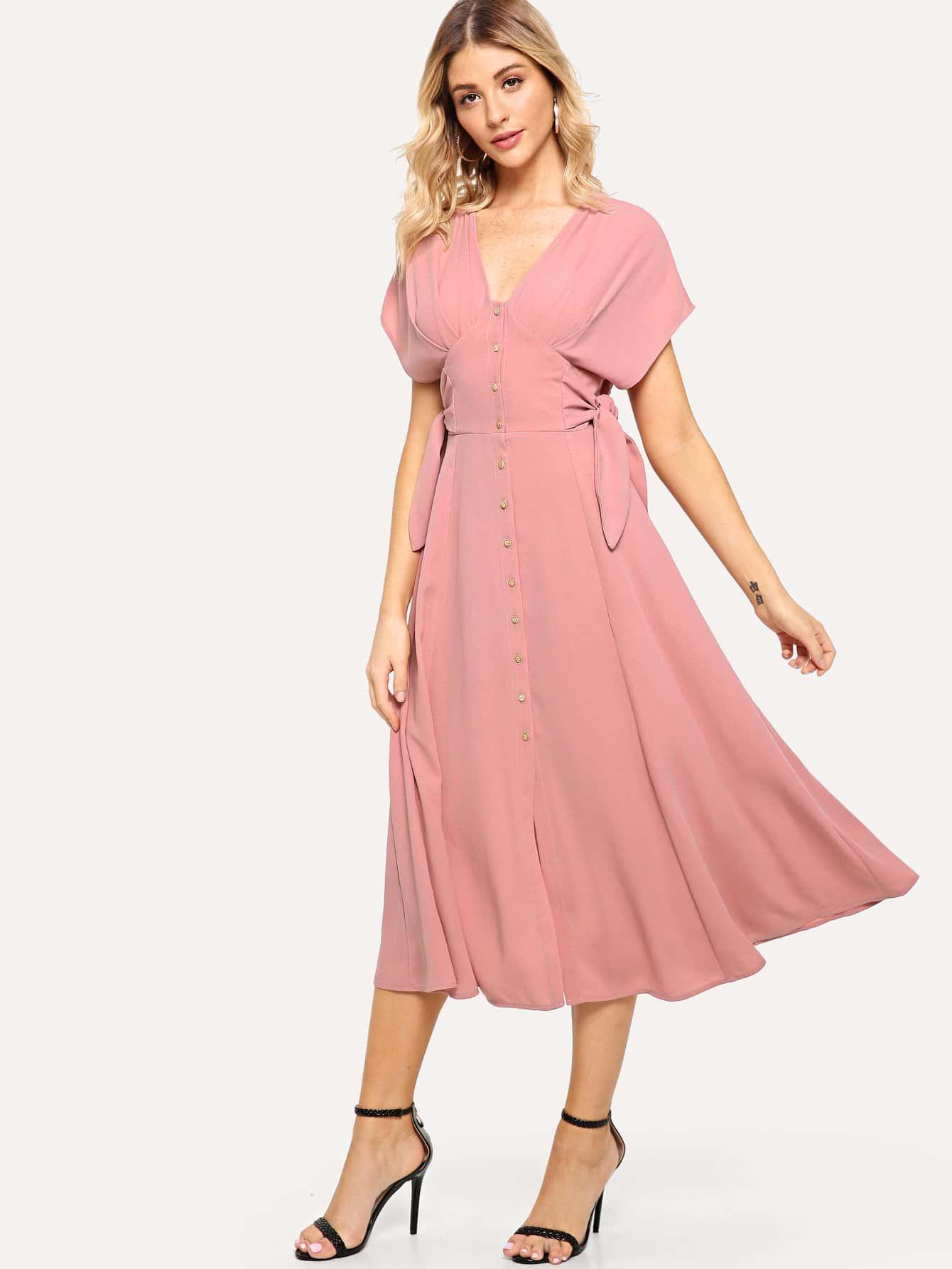 Batwing Sleeve Knot Side Button Up Dress Shein Sheinside