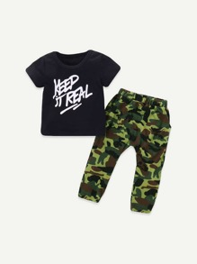 Toddler Boys Letter Print Tee With Camo Pants