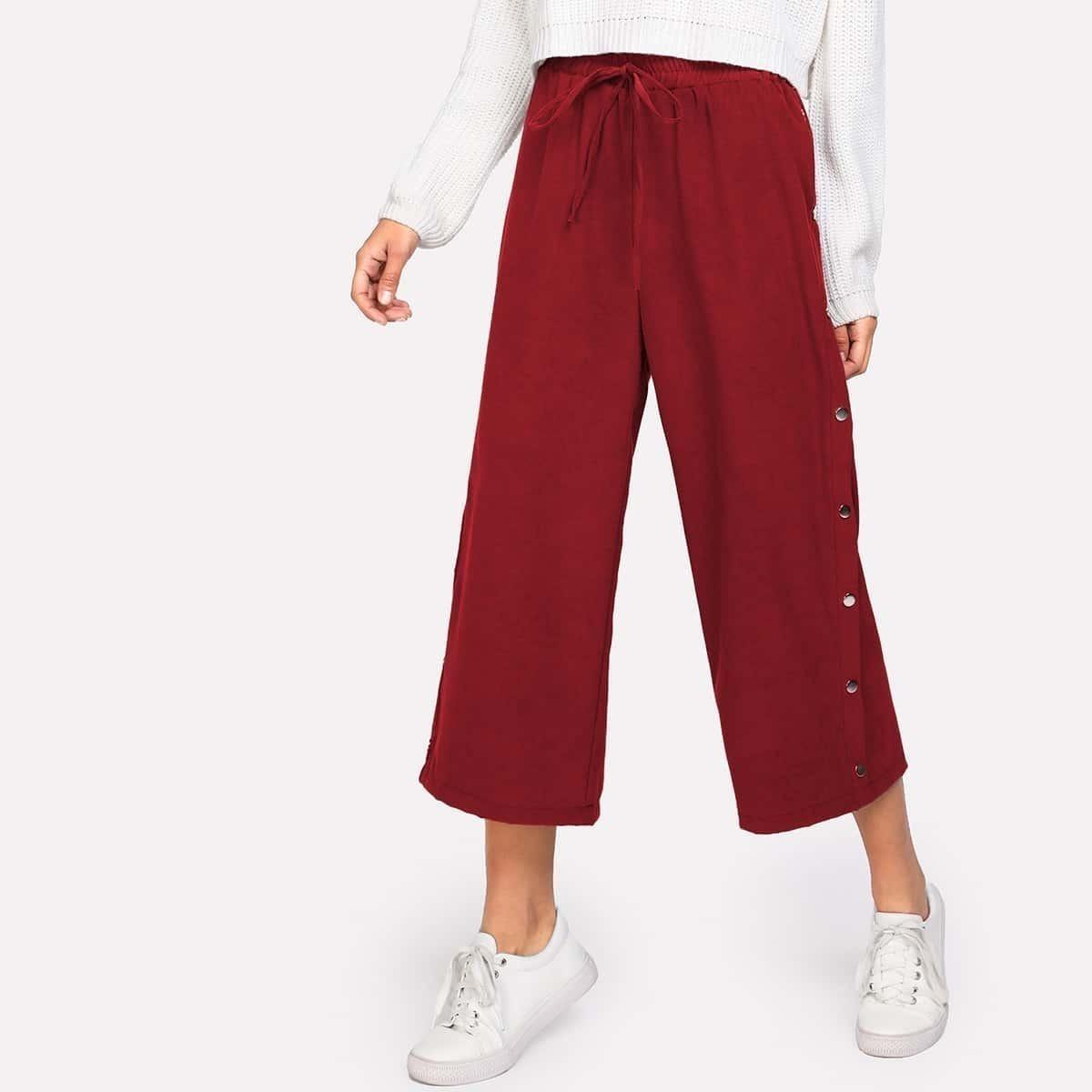 - Button Side Drawstring Culotte Pants