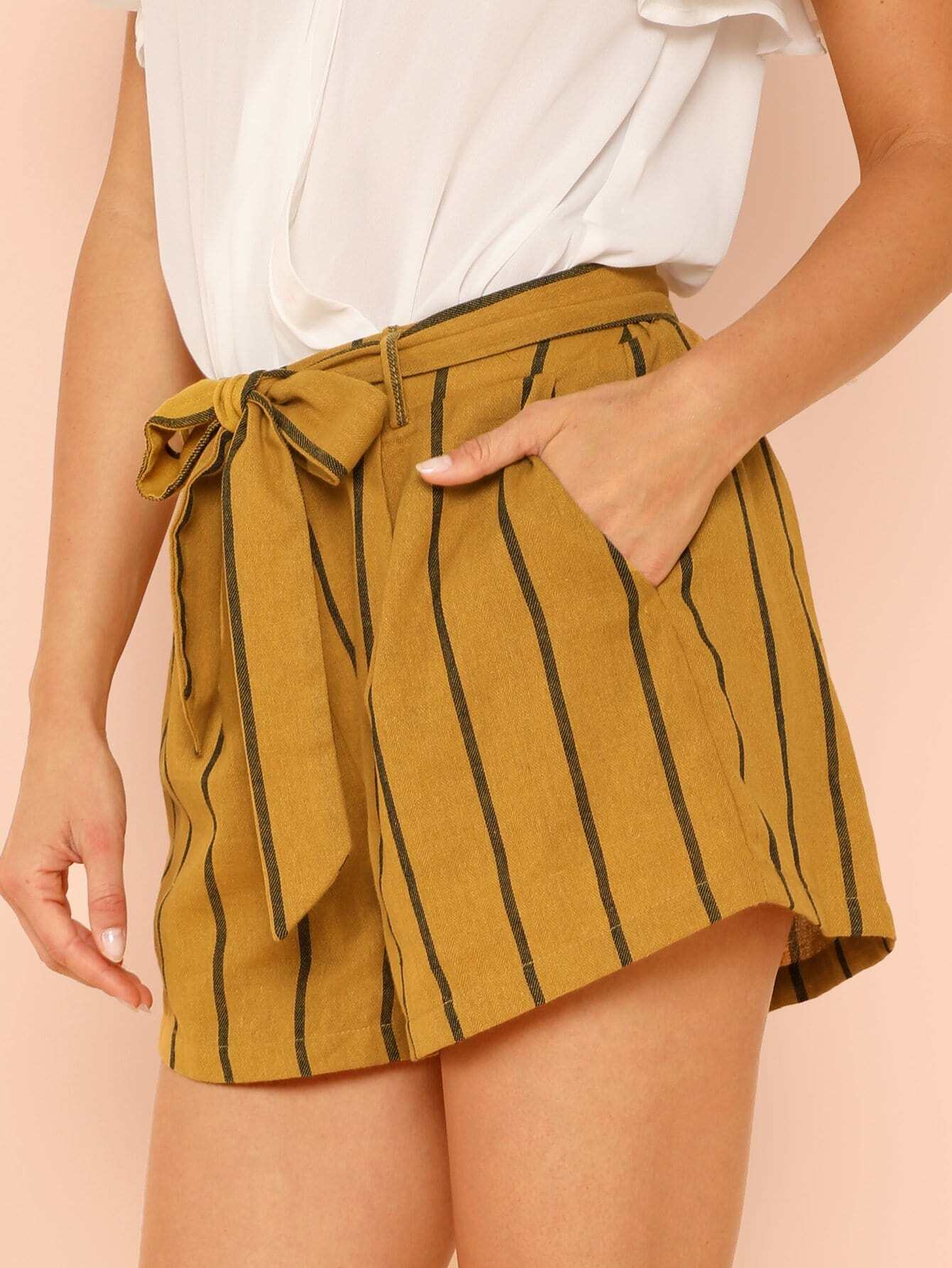 1373530e8dde Tie Waist Stripe Shorts | SHEIN IN