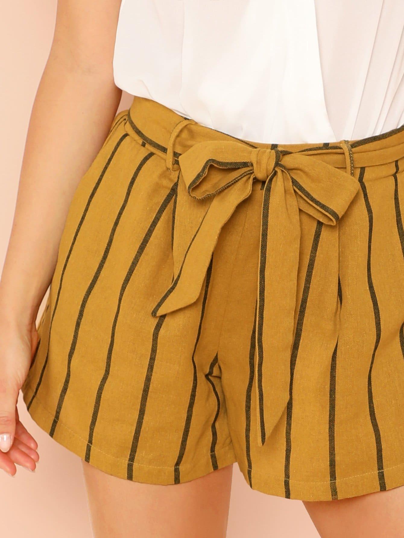 8fee8c727294 Tie Waist Stripe Shorts | SHEIN