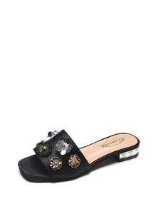 Flower Applique Heeled Sandals