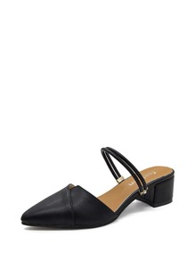 Pointed Toe Heeled Mules
