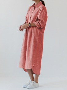 Pinstripe Longline Shirt Dress