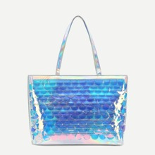 Scale Pattern Iridescent Tote Bag bag180608650