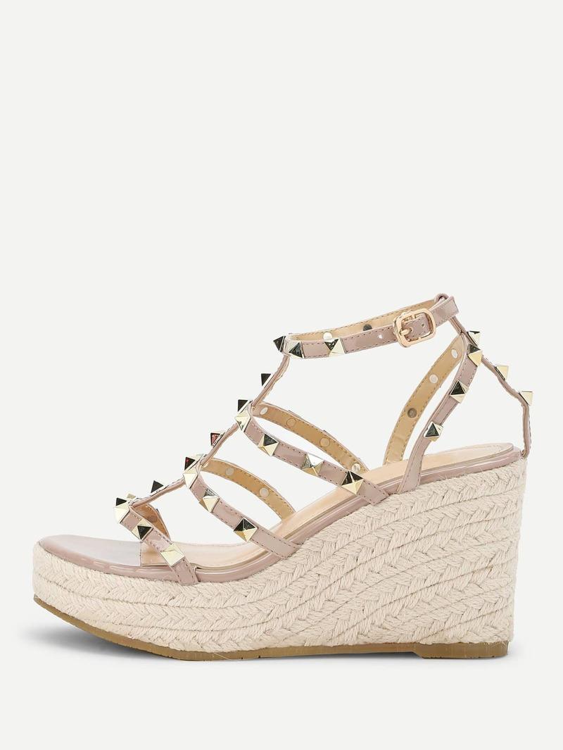 Sandalias Con Tachuela De Diseño Cuñas Tejidas oErdQCxBeW