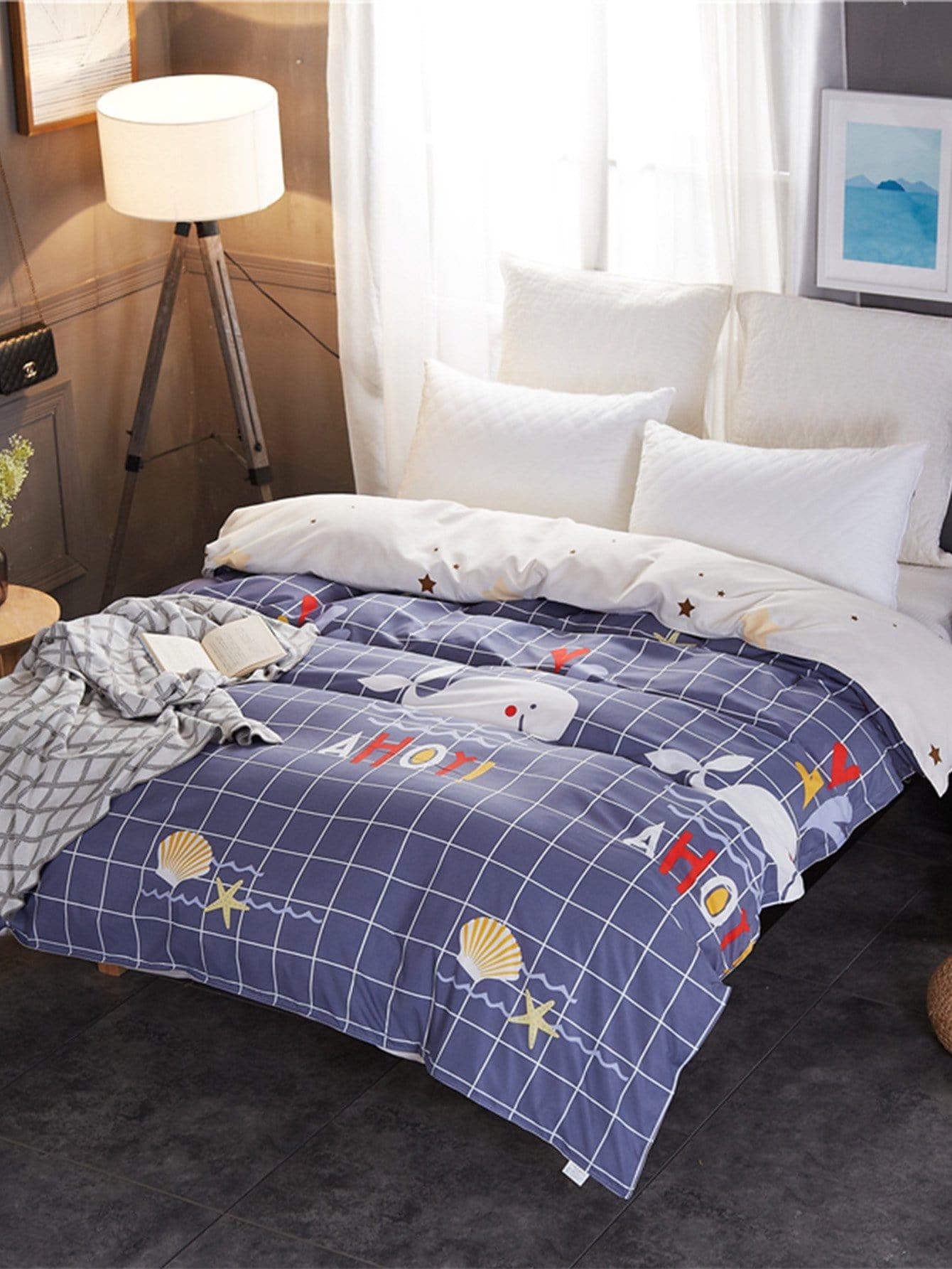 housse de couette imprim e oc an carreaux french shein sheinside. Black Bedroom Furniture Sets. Home Design Ideas