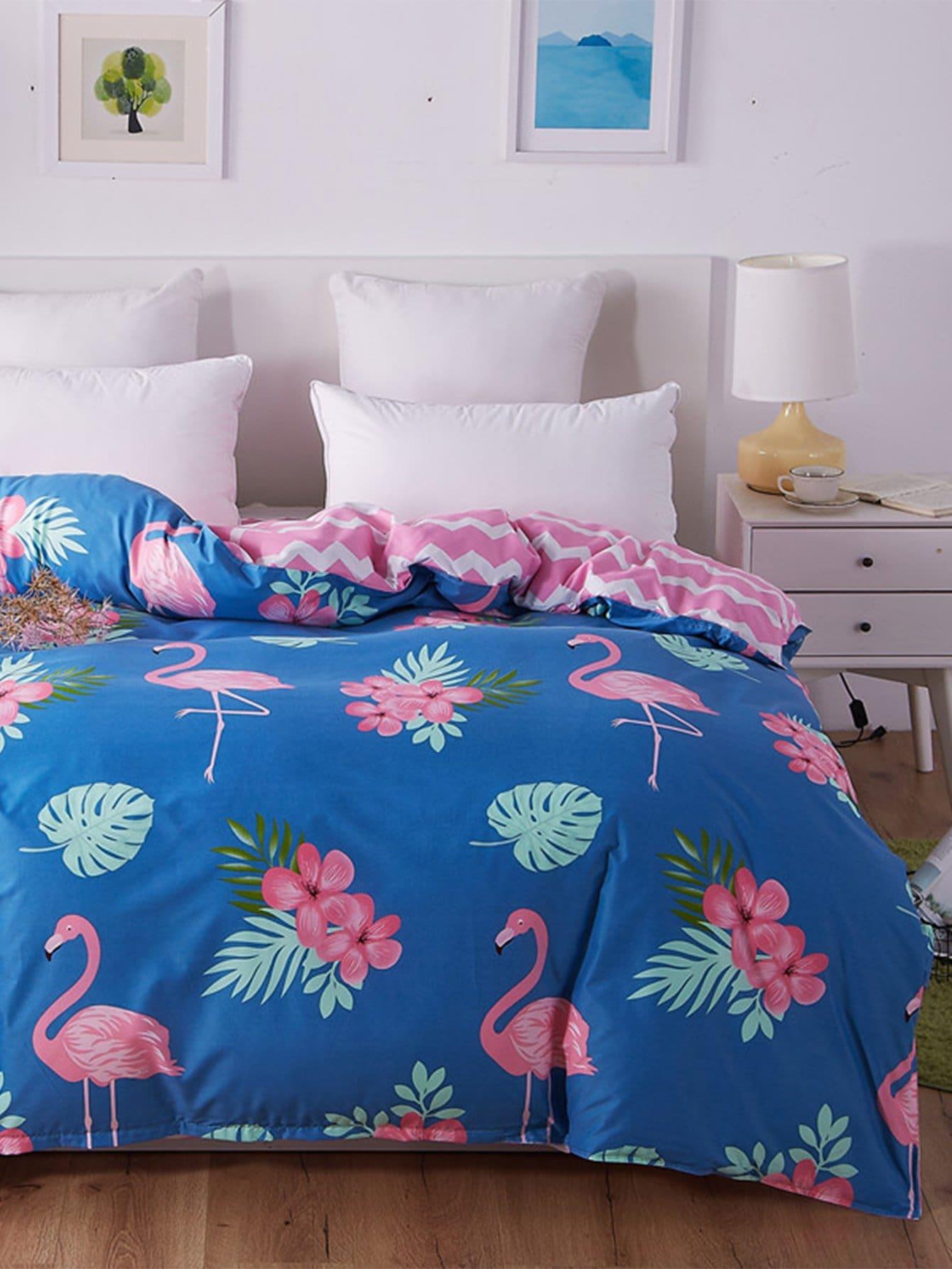Flamingos Print Duvet Cover