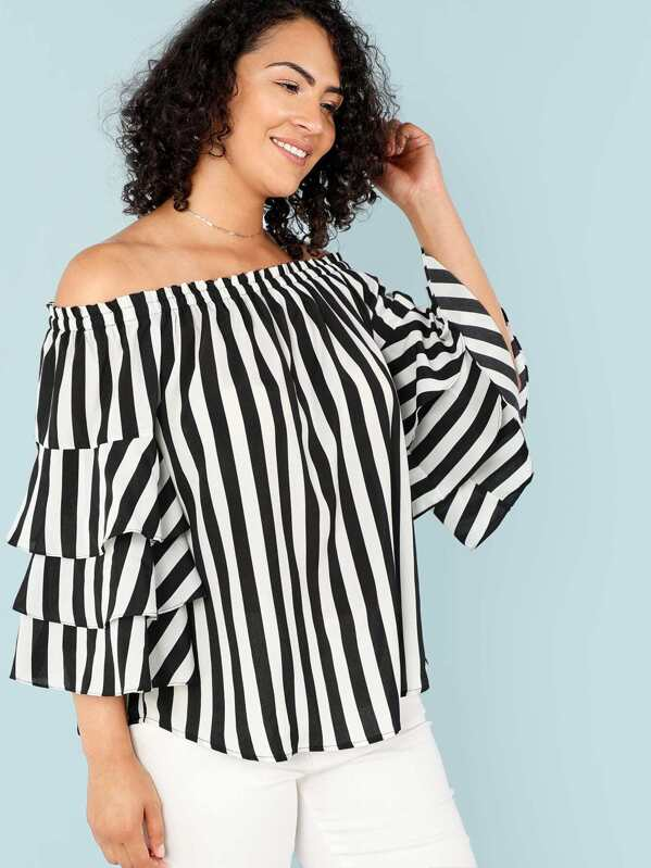 2c667a286bc Plus Layered Flounce Sleeve Off Shoulder Striped Top
