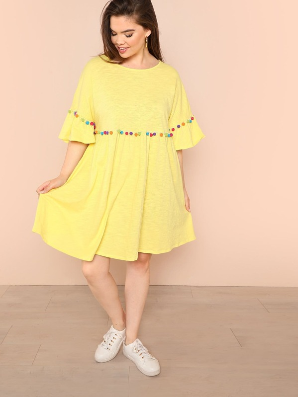 Plus Pompom Accent Flounce Sleeve Smock Dress
