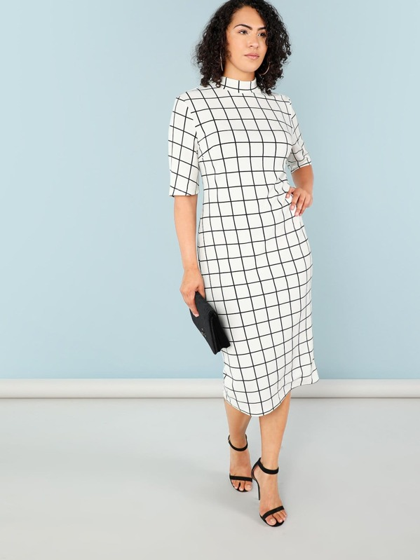 304139be22ae Plus Mock Neck Grid Print Form Fitting Dress   SHEIN IN