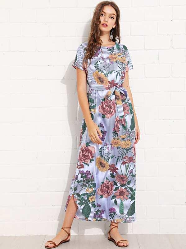 34ae3c22c35d63 Flower and Striped Curved Hem Dress