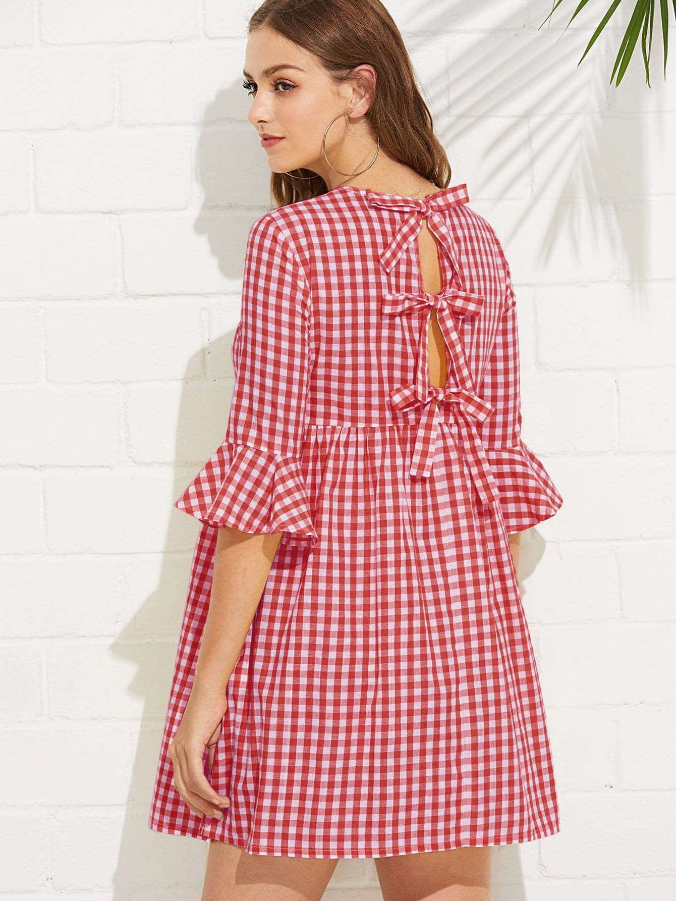 Bow Tie Open Back Fluted Sleeve High Waist Gingham Dress Bow Tie Open Back Fluted Sleeve High Waist Gingham Dress