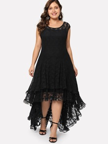 Plus Dip Hem Layered Floral Lace Dress