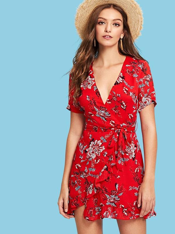 9027a0ca39 Surplice Neck Overlap Ruffle Trim Floral Dress