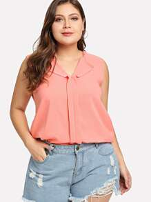 Plus V Neckline Sleeveless Top