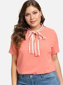 Plus Contrast Binding Tie Neck Blouse