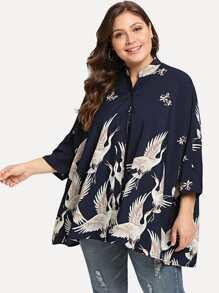 Plus Swan Print Drop Shoulder Shirt